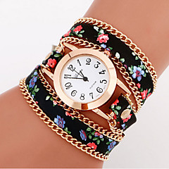 Mujer Reloj de Moda / Reloj de Pulsera / Reloj Pulsera Cuarzo / Piel Banda Flor / Bohemio Negro / Blanco / Azul / Verde Marca