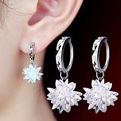 2016 Korean Women 925 Silver Sterling Silver Jewelry Long Crystal Flower Hoop Earrings Drop Earrings 1Pair