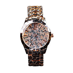 Frauenkristallband Luxus-Mode Leopard Quarzuhr