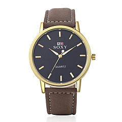Hombre Reloj de Moda Cuarzo Reloj Casual Piel Banda Encanto Marrón