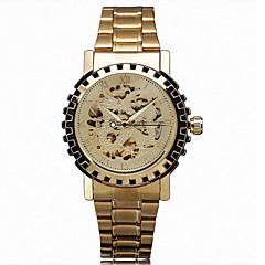 גברים שעון יד אוטומטי נמתח לבד חריתה חלולה מתכת אל חלד להקה זהב מותג- WINNER