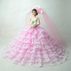 Wedding Dresses For Barbie Doll Pink Dresses For Girl's Doll Toy