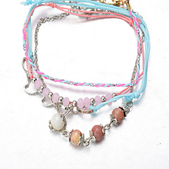 Pink-Blue Multilayer Fabric Silver Chain Beads Wrap Tissue Pendant Chain Strand Charm Bracelet Jewelry