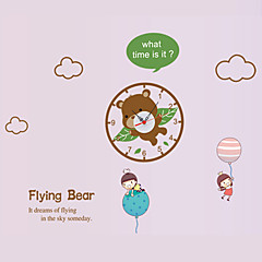 DIY Cartoon Flying Bear Wall Clock With Wall Stickers For Bedroom Living Room Kindergarten Home Decor