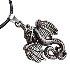 Men'S Titanium Steel Skeleton Necklace, Stainless Steel Pendant - Fire Dragon Leather Cord Necklace