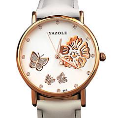Mulheres Relógio Elegante / Relógio de Moda / Relógio de Pulso Quartz / PU Banda Borboleta / Flor / Legal / CasualPreta / Branco /