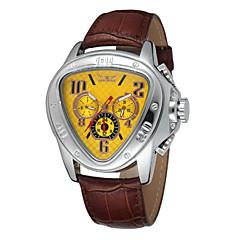 WINNER Heren Polshorloge mechanische horloges Automatisch opwindmechanisme Kalender Leer Band Luxueus Zwart Wit Zwart Geel Rood