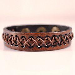 Heren Wikkelarmbanden Lederen armbanden Modieus Bohemia Style Aanbiddelijk Met de hand gemaakt Leder Geometrische vorm Zwart Bruin