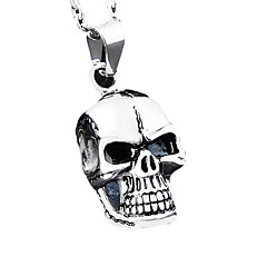 Titanium Steel Man Pendant, Stainless Steel Skull Necklace