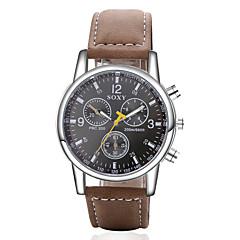 Men's Fashion Round Leather Wristwatches  Glass Analog Quartz Watch Casual Business Style Relogio Masculino
