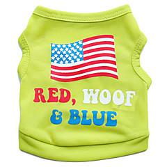 Koty / Psy T-shirt Zielony / Niebieski / Różowy Ubrania dla psów Lato Kwiatowy/roślinny / Flagi Modny