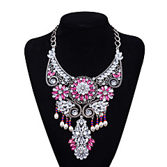 Xu Women 's Exaggerated Nation Complex Leisure Glass Alloy Necklace