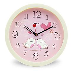 (Color random)8 Inches Children Bedroom Cute Cartoon Wall Clock Mute Circular Clock Quartz Clock
