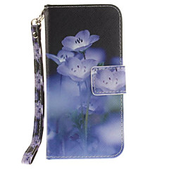 Blue Flowers PU Leather for iphone7 6Splus 6plus 6S 6 SE 5S 5