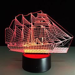 luova 3d valot 3d johti yövalo akryyli värikäs kaltevuus ilmapiiri lamppu purjeveneen muoto värjäytyminen lamppu
