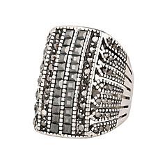 Man's The Air Star Ring Inlaid Bright Black Diamond Fine Carving Silver Diamond Ring
