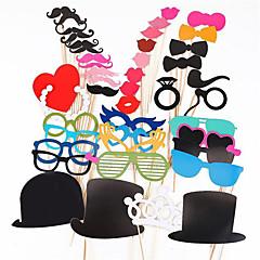 Photo Booth rekvisiitta 44 kpl / setti Photobooth häät syntymäpäiväjuhlat Photo Booth rekvisiitta lasit viikset huuli on a stick