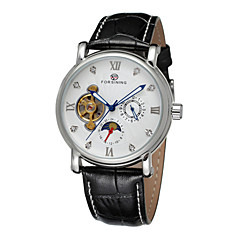 FORSINING® Men's Tourbillon Moon Phase Black Leather Band Automatic Self Wind Wrist Watch (Assorted Colors) Cool Watch Unique Watch Fashion Watch