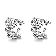 Earring Flower Jewelry Women Fashion Daily / Casual Alloy 1 pair Gold / Black / Silver
