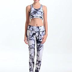 MIDUO Dame Løb Tights Leggins Komprimering Forår Sommer Efterår Vinter Yoga Løb Elastin Stram Indendørs Grå Printer