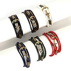 Heren Bedelarmbanden Wikkelarmbanden Lederen armbanden Modieus Meerlaags Leder Legering Lijnvorm Anker Zwart Bruin Rood Groen Navy