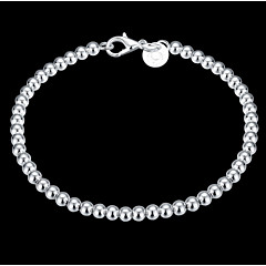 Exquisite Simple Fine S925 Silver 4MM Bead Strand Charm Bracelet for Wedding Party Women Christmas Gifts