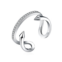 Fine Sterling Silver Double Diamond Statement Ring for Women Wedding Party