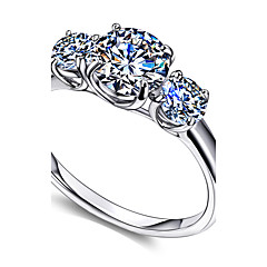 Round White Cubic Zirconia 3-Stone Ring Vintage 925 Sterling Silver Engagement Rings For Women Jewelery