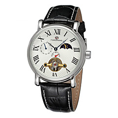 FORSINING® Men's Roman Number Tourbillon Moon Phase Decor Leather Band Automatic Self Wind Dress Watch Cool Watch Unique Watch Fashion Watch