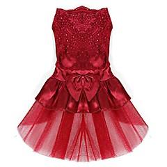 Perros Vestidos Rojo / Azul / Rosado / Dorado Ropa para Perro Verano / Primavera/Otoño Lazo Adorable / Boda / Cumpleaños