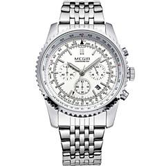 Masculino Relógio Elegante / Relógio de Pulso Quartz Calendário / Cronógrafo / / Aço Inoxidável Banda Casual Marrom marca