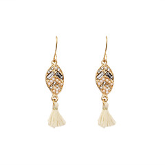 Fashion Women Stone Set Fabric Tassel Drop Earrings