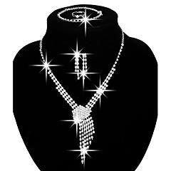 Damskie Zestawy biżuterii Bridal Jewelry Sets Modny biżuteria kostiumowa Miedź Kryształ górski Posrebrzany Naszyjniki Náušnice Rings