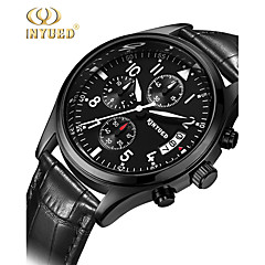 KINYUED Men's Leather Band Water Ressistant Noctilucent Calendar Dress Watch Gift (Include Package)