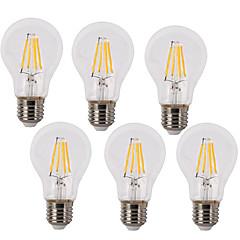 6 Pack 4W Vintage LED Filament Bulb A60 Medium Screw E27 Base Incandescent Replacement Warm White /White 220-240V AC