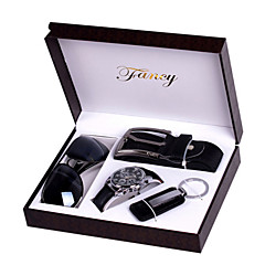 Set of 4 Men's Father Unique Creative Valentine Gift Leather Band Fashion Watch Jewelry Set with Belt Keychain Sunglass Box Watch Box