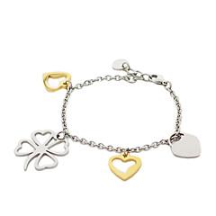 Fashion Four Leaf Clover Heart Shape Titanium Steel Charm Bracelets