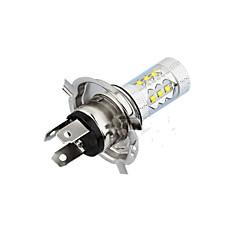 2 pezzi 80w H4 16SMD 6500K luce bianca -7000k ha condotto la lampadina per auto fari fendinebbia DC12-24V