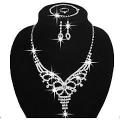 Smykker Halskæder Øreringe Ringe Armbånd Brude Smykke sæt Mode Fest Daglig Afslappet Plastik Rhinsten Sølvbelagt 1 Sæt Dame Sølv
