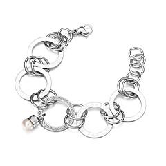 Little Pearl Balls Wide Circles Link Chain Bracelets