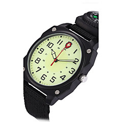 Herren Militäruhr Kleideruhr Modeuhr Armbanduhr Quartz Compass leuchtend Punk Stoff Band Vintage Cool Bequem Schwarz Grün Marke