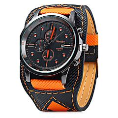 Męskie Zegarek na nadgarstek Kwarcowy Kalendarz / Skóra Pasmo Nowoczesne Na co dzień Czarny Pomarańczowy Orange Black/White