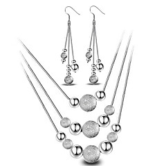 Fine 925 Silver Ball Layered Necklace Drop Earrings Jewelry Set for Wedding Party