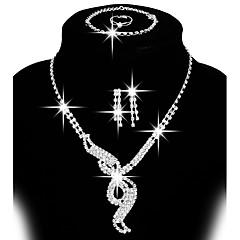 Dames Sieraden Set Oorknopjes Druppel oorbellen Bib kettingen Kostuum juwelen Modieus Verstelbaar Elegant Bruids Koper Strass Verzilverd