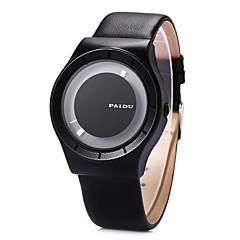 Men's Dress Watch Fashion Watch Wrist watch Unique Creative Watch / Quartz Leather Band Cool Black
