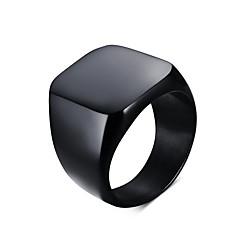 Herre Statement-ringe Personaliseret Europæisk minimalistisk stil kostume smykker Titanium Stål Firkantet form Smykker Til Daglig