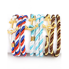 Heren Wikkelarmbanden Modieus Meerlaags Luxe Sieraden Verguld Nylon imitatie Diamond Legering AnkerWit/Rood Zwart/Wit Rood/blauw