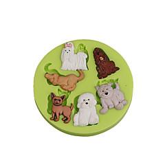 Sevimli hayvan çok köpekler silikon şekercilik kalıp fondan kek dekorasyon araçları çikolata için cupcake renk rasgele