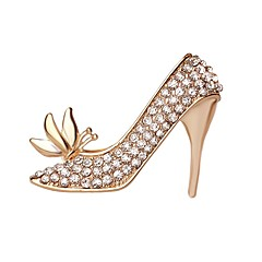 뜨거운 판매 빛나는 크리스탈 나비 높은 굽 신발 여성 브로치