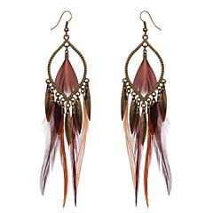 Bohemian Retro Bronze Dangle Earrings 2016 Brown Color Long Feather Earrings Fashionable Women Girls Party Earrings